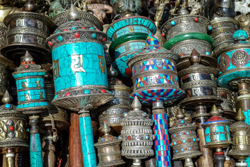 Devotional objects for pilgrims, Swayambhunath, Kathmandu Valley, Nepal
