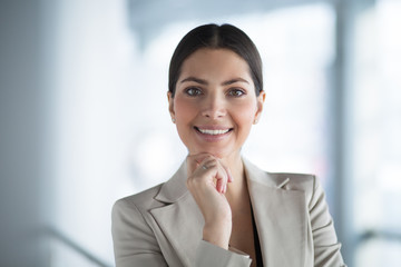 Closeup of Pensive Attractive Business Woman