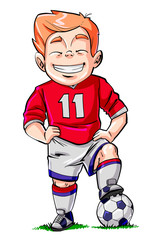 Cartoon kid in football pose