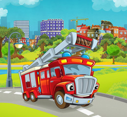 cartoon stage with happy vehicle - truck for firefighting