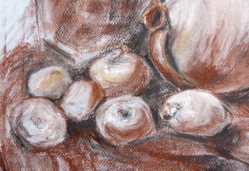 texture painting still life painting sea shell,