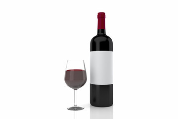 red wine glass and bottle isolated on white 3D rendering