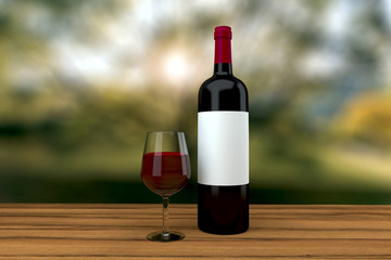 red wine glass and bottle on a wood table outdoor 3D rendering