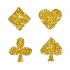 Suits of playing cards of golden glitter on white background, icon for your design