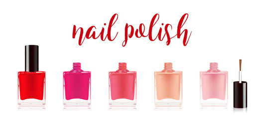 Different colors nail polish set. Nail varnish in the bottle with the bottle lid, isolated on white background. Vector illustration.