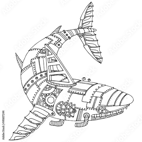 Steam Punk Style Shark Coloring Book Vector Stock Image And Royalty