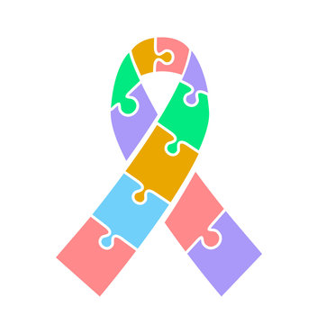 icon ribbon  on Autism awareness day.