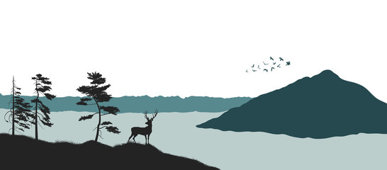 Silhouette of a mountain lake. Panorama of a forest with a deer. Landscape of wild nature