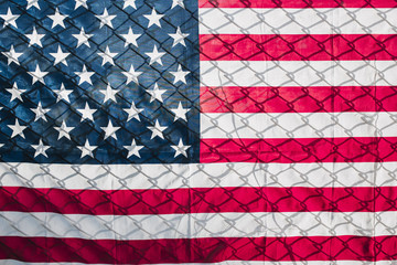 The American flag and chain wire
