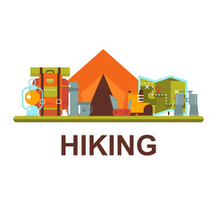 Camping, hiking outdoor flat vector concept.