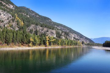 Fototapete - Flathead River and Forest in Glacier National Park