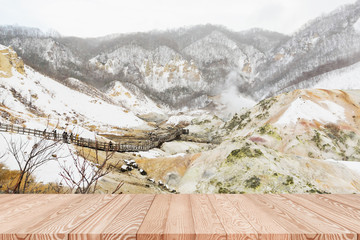 Wood table top on Jugokudani or hell valley in Noboribetsu, Hokkaido, Japan - can be used for display or montage your products
