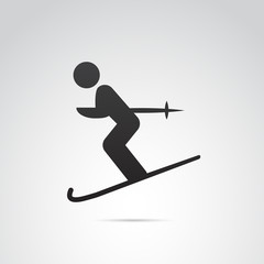 Ski vector icon.