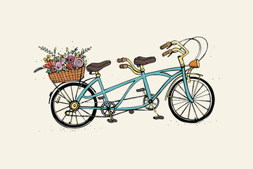 Hand drawn tandem city bicycle with basket of flower. Vintage, retro style. Sketch vector colorful illustration.