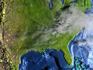 East coast of USA on Earth - visible ocean floor