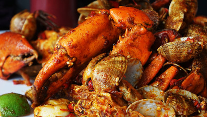 Seafood / Variety types of seafood such as mud crab, clam, squid, prawn