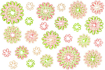 Watercolor abstract flowers on white background