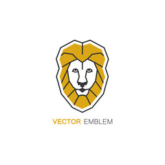 Lion logo design template in linear style - protective symbol.