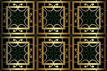 abstract symmetrical pattern, vintage gold decor element geometric shapes texture units green grids on a black background