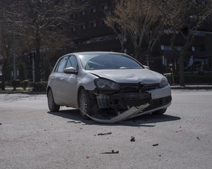 Car accident happens and dameged in front, in city center of Eskisehir, Turkey