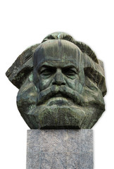 Aluminium Prints Historic monument Karl Marx Kopf in Chemnitz isoliert