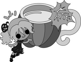 A cute little girl and the milk of pumpkin