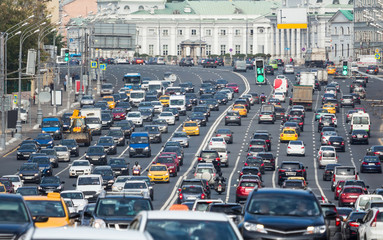 Congested with cars multilane road