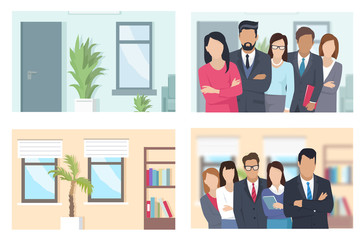 Business People and Offices Illustrations Set