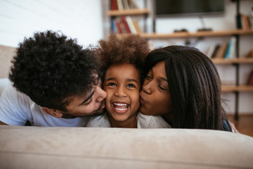 Cute african american family