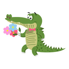 Cartoon Crocodile with Flowers Isolated on White