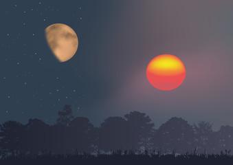 Soleil - lune, nuit - coucher de soleil - clair de lune - opposition - différence