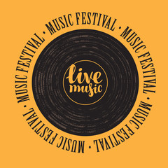 square banner with a vinyl record, inscription live music and the words music festival, written around