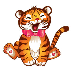 Illustration of cute little tiger