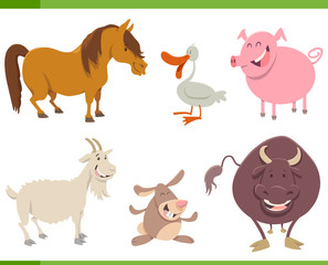 cute farm animal characters set