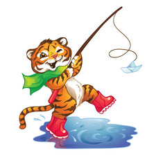 Happy tiger walking in rubber boots through puddles.Isolated on white background.