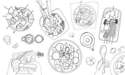 Festive vegetarian tableful, laid table, holidays hand drawn contour illustration, top view