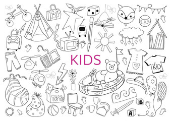 Be creative with kids. Doodle hand drawn black elements on white background