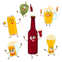 Funny beer bottle, glass, can, mug hop characters with smiling human faces, cartoon vector illustration isolated on white background. Set of funny beer bottle, glass, can, mug characters, mascots