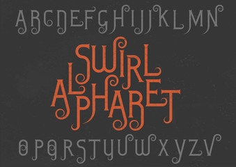 Vector alphabet set. Capital grunge letters with decorative flourishes in the Art Nouveau style. Red and gray font on black background.