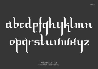 Vector alphabet set. Lowercase letters in Gothic medieval style, simplified version. White letters on black background.