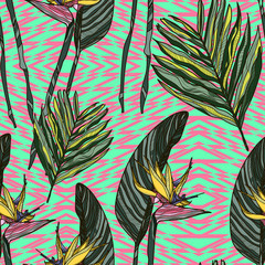 Floral pattern with strelitzia or bird of paradise flowers and leaves. Vector illustration.