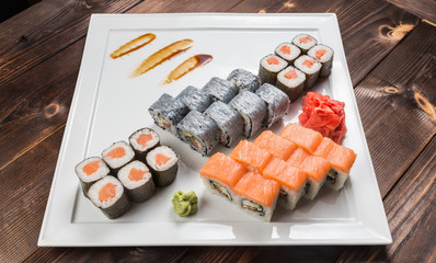 Japanese Sushi Set - Various Maki Sushi Roll and Nigiri Sushi Served on Banana Leaf