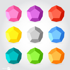 3d vector low poly pentagon
