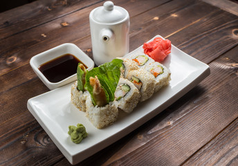 Fuji roll Salmon teriyaki crab tomato