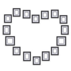 Simple photo frames on wall. Placed in form of silhouette heart. Idea for interior design and decor. 3d render.