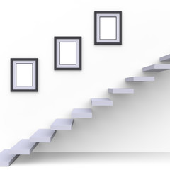 Modern geometric staircase with picture frames on wall. Inspiration for interior design and decor. 3d render.