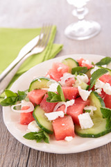 watermelon,feta and mint