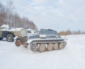 winter German tank leaves the road.