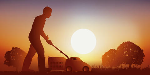 Tondeuse - jardin - gazon - pelouse - jardinage - jardiner - Coucher de soleil