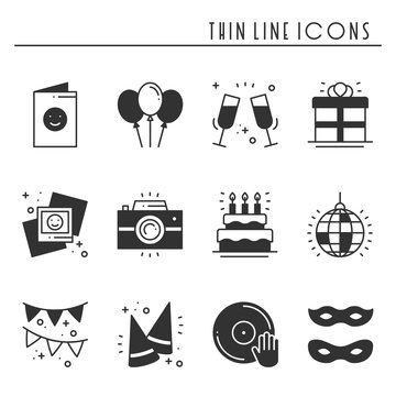 Party celebration thin line icons set. Birthday, holidays, event, carnival festive. Party elements icons collection. Vector silhouette linear design. Illustration. Symbols. Mask gifts cake firework